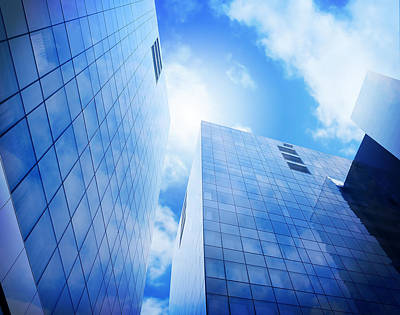 Photograph - Bright Blue City Buildings With Clouds by Angela Waye