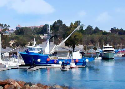Trawler Digital Art - Bright Blue Fishing Ship by Elaine Plesser