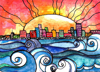 Sunset Painting - Bright City by Robin Mead