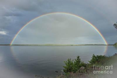 Impressionism Photos - Bright Double Rainbow by Heiko Koehrer-Wagner
