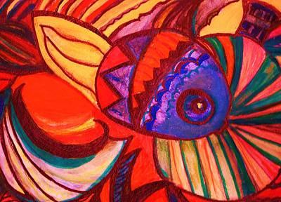 Bright Fishy With Fans And Swirls Art Print by Anne-Elizabeth Whiteway