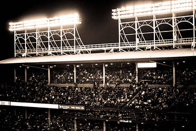 Friendly Confines Photograph - Bright Lights Of Wrigley Field by Anthony Doudt