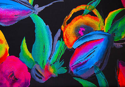 Bright Orange Red Romantic Flowers Abstraction On A Black Background Original