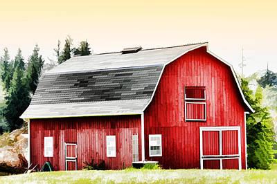 Barnyard Digital Art - Bright Red Barn by Tracie Kaska