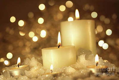 Brightly Lit Candles In Wet Snow Art Print by Sandra Cunningham