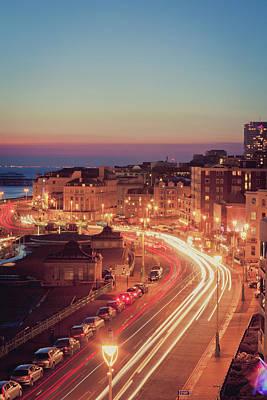 Long Tailed Photograph - Brighton - Coastal Uk City At Night, Long Exposure by PhotoMadly