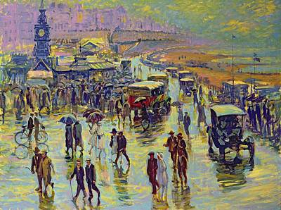 Shoreline Old Men Painting - Brighton On A Rainy Day by Robert Tyndall