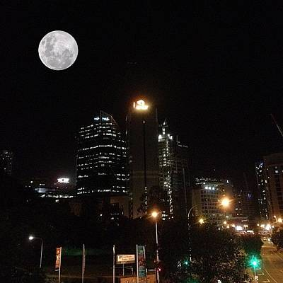 Brisbane Moon Art Print by Cameron Bentley
