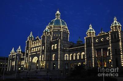 British Columbia Parliament Building At Night Art Print by Tanya  Searcy