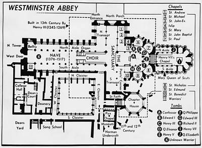 British Royalty. Diagram Of Westminster Art Print by Everett