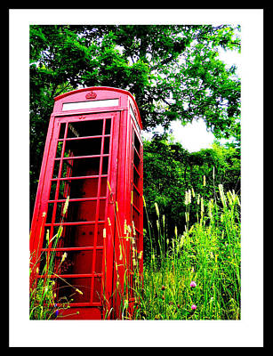 Edgecomb Photograph - British Telephone Booth In A Field by Kara Ray