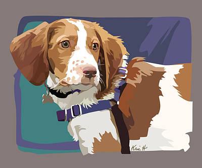 Canine Digital Art - Brittany Boy   by Kris Hackleman