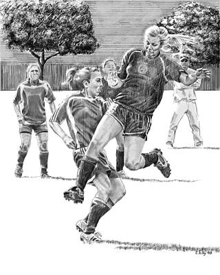 Women Soccer Painting - Brittany Jumps by Claudia Kilby