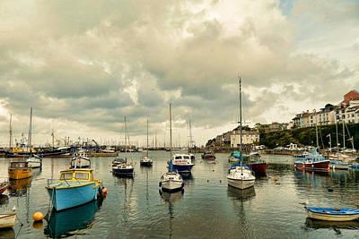 Trawler Digital Art - Brixham Harbor by Sharon Lisa Clarke