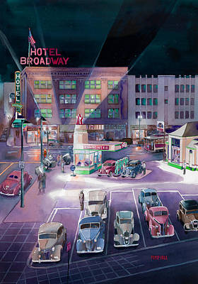 Broadway And Burnside 1941 Art Print by Mike Hill
