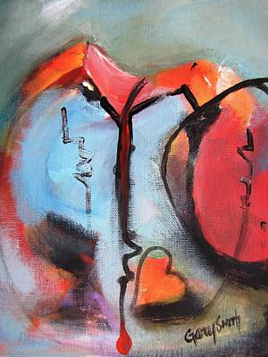 Painting - Broken And Blue Heart by Gary Smith