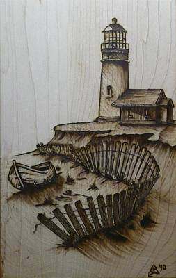 Pyrography Drawing - Broken Beacan by Chad Bridges