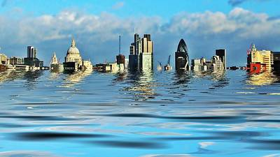 London Skyline Photograph - Broken Flood Barrier by Sharon Lisa Clarke