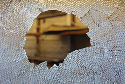 Material Glass Photograph - Broken Glass Pane by Nathan Griffith