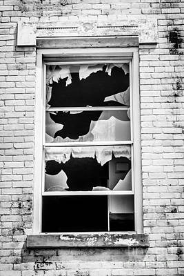 Decrepit Photograph - Broken Window Glencoe-auburn Cincinnati Ohio by Paul Velgos