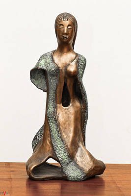 Sculpture - Bronze Hollow Lady In Gown Front Sculpture In Bronze And Copper Green Long Hair  by Rachel Hershkovitz