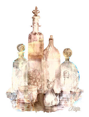 Cat Painting - Bronzed Bottles by Arline Wagner