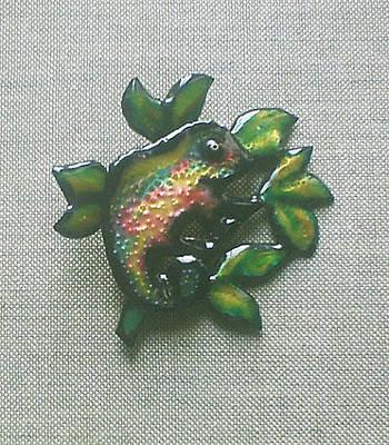 Enamel On Copper Jewelry - Brooch Chameleon by Asya Ostrovsky