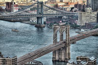 Brooklyn And Manhattan Bridge Art Print by Tony Shi Photography
