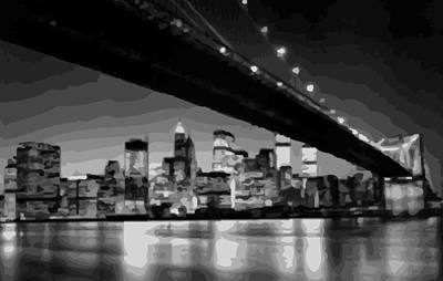 Brooklyn Bridge @ Night Bw16 Art Print