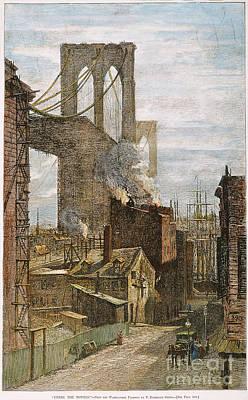 Photograph - Brooklyn Bridge, 1882 by Granger