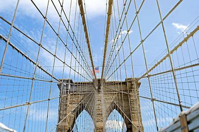 Y120831 Photograph - Brooklyn Bridge And American Flag by Mihaela Muntean
