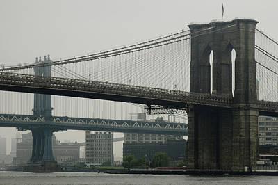 South Street Seaport Photograph - Brooklyn Bridge And Manhattan Bridge by Todd Gipstein