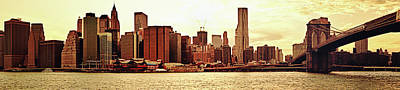Brooklyn Bridge Photograph - Brooklyn Bridge And New York City Skyline Panorama by Vivienne Gucwa