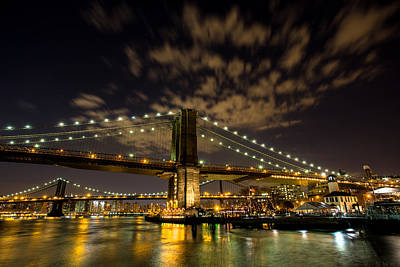 Brooklyn Bridge And Waterfront Art Print by John Dryzga