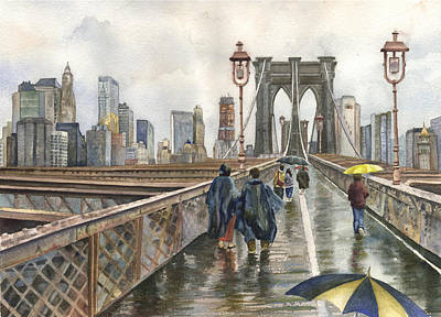 Raincoats Painting - Brooklyn Bridge by Anne Gifford