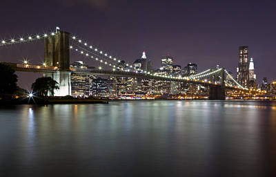 Photograph - Brooklyn Bridge At Night 2 by Val Black Russian Tourchin