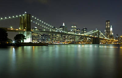 Photograph - Brooklyn Bridge At Night 6 by Val Black Russian Tourchin