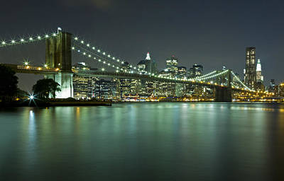 Photograph - Brooklyn Bridge At Night 8 by Val Black Russian Tourchin