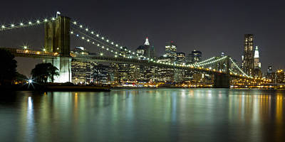 Photograph - Brooklyn Bridge At Night Panorama 4 by Val Black Russian Tourchin