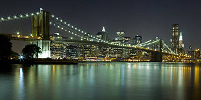 Photograph - Brooklyn Bridge At Night Panorama 6 by Val Black Russian Tourchin