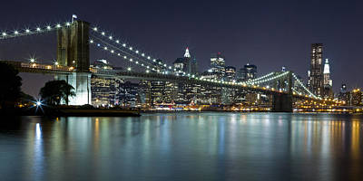 Photograph - Brooklyn Bridge At Night Panorama 7 by Val Black Russian Tourchin