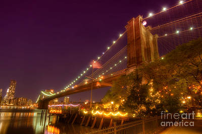 Photograph - Brooklyn Bridge At Night by Yhun Suarez