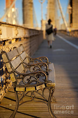 Photograph - Brooklyn Bridge Bench by Brian Jannsen