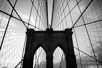Black And White Photograph - Brooklyn Bridge Black And White by Cassandra Lemon