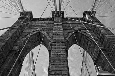 Photograph - Brooklyn Bridge Bw by Michael Yeager