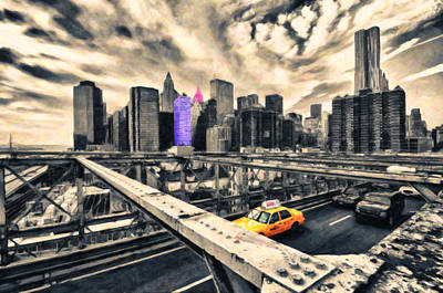 On Paper Digital Art - Brooklyn Bridge Fantasy by Radu Aldea