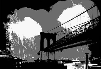 Brooklyn Bridge Fireworks Bw3 Art Print