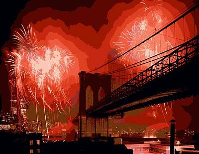 Brooklyn Bridge Fireworks Color 16 Art Print by Scott Kelley