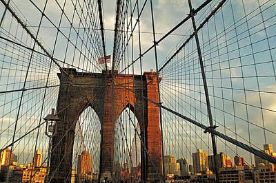 Brooklyn Bridge On A Sunset Art Print by Alex AG