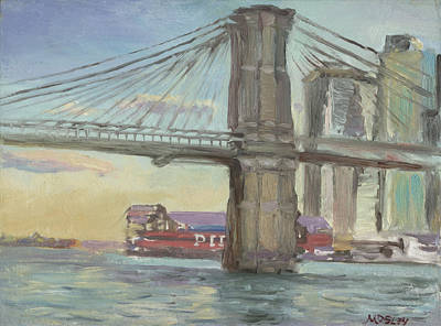 Brooklyn Bridge Painting - Brooklyn Bridge Pier 16 by Walter Lynn Mosley